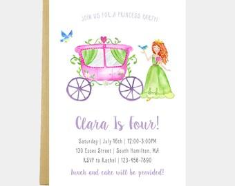 Princess Birthday Party Invitation, Girl Princess Birthday Invitation, Princess Carriage Invitation, Watercolor, Printable or Printed