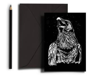 The Dark Wood 'Night Raven' Greetings Card with Envelope C6 Black and White