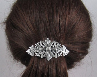 Vintage Victorian French Barrette 80MM- Hair Accessories- Hair clip- Silver Barrette- Filigree Barrette