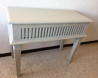 Beautiful console in gray-green patinated wood