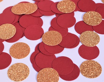 Burgundy and Gold Confetti Circles, Red and Gold Confetti, Engagement Party Decorations, Wedding Decorations, Red and Gold Party Decorations
