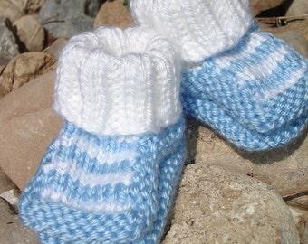 Hand knit baby booties-Top Striper Booties