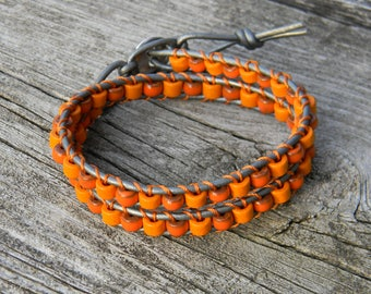 Leather and Ceramic Wrap Bracelet
