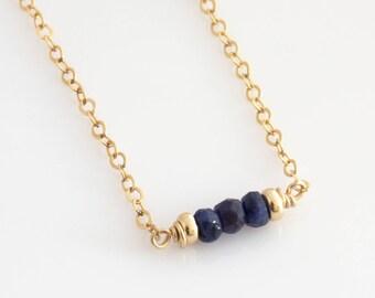 September Sapphire Birthstone Necklace / Birthstone Necklace for Women / Birthstone Layering Necklace / Simple Mothers Birthstone Necklace