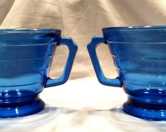 Cobalt Blue Sugar and Creamer Set in the Moderntone Pattern by Hazel Atlas Glass