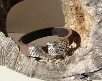 Brown leather snake bracelet for men