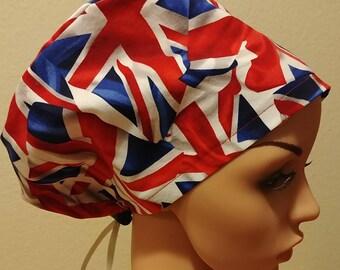 Women's Surgical Cap, Scrub Hat, Chemo Cap, British Flag