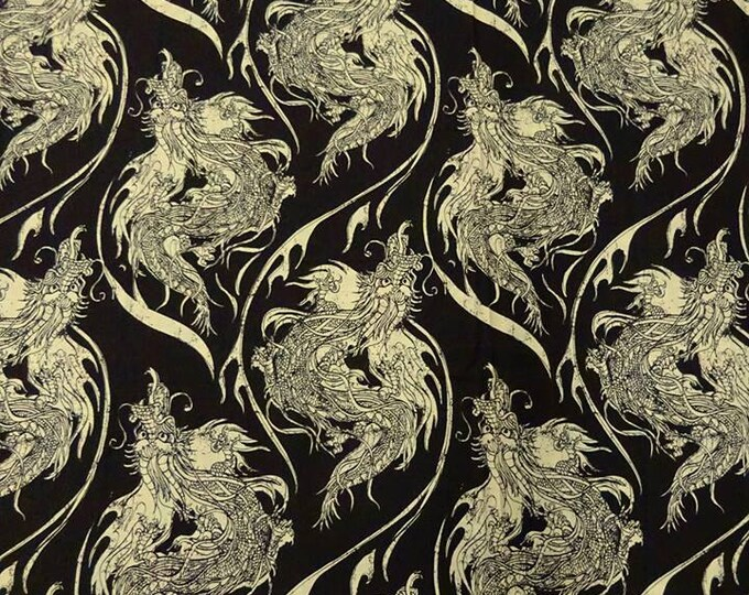 Dragon Print in Muted Black/Custard - 100% Cotton FABRIC
