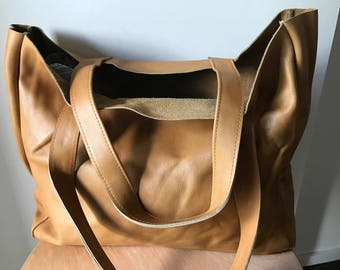Tan Leather Shoulder Tote.Handmade, Traditional and classic, genuine leather tote shoulder bag has strong straps,generous size shopper.