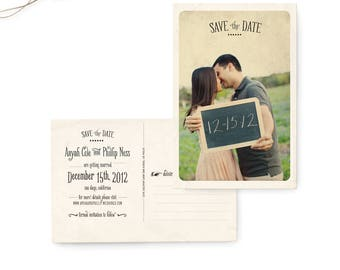 """Save the Date Postcard, Wedding Save the Date Card, Photo Wedding Announcement - the """"Anyah"""""""