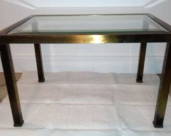 Rectangular coffee table made of brass and beveled glass