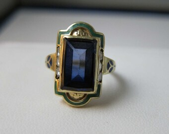 Vintage Deco 14k Diamond Enamel Ring