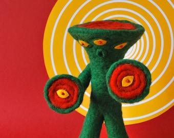Print: Six Eyed Bandel - Needlefelting Felt Plush Toy Sci-Fi Monster Japan Wall decor Art Kaiju Photograph red green yellow Japanese retro