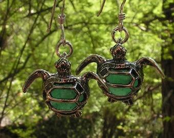 Sea Turtle Earrings Sterling Silver With Aventurine