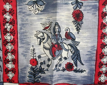 Vintage Silk Scarf Medieval Theme Burgundy Red and Blue/Gray Large 31 x 36