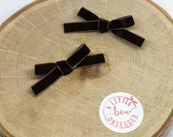Chocolate Brown Velvet Hair Bow, Clip or Headband, Pigtail Hair Bows, Girls Hair Bows, Velvet Bow Set, Mini Velvet Hair Bows