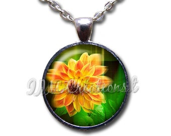 Flower Nature Glass Dome Pendant or with Chain Link Necklace NT157