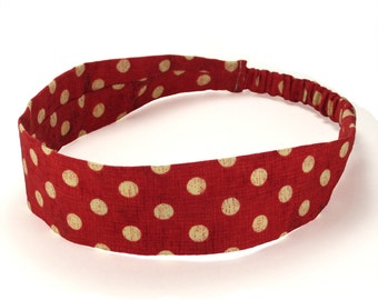 """Fabric Headband - Minnie Dot - Pick your size - fit toddlers to adults - 1-1/2"""" wide"""