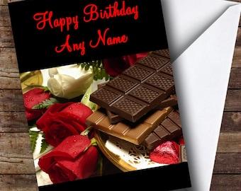 Chocolate & Roses Romantic Personalised Birthday Card