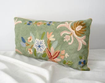 vintage green floral chainstitch embroidery pillow