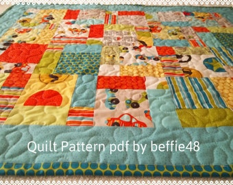 Charm Pack Quilt Pattern, Easy Magic 9 Block Tutorial, with photos, pdf.