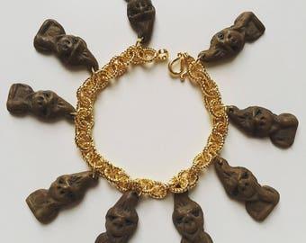 1950s rare vintage gnome folklore good luck charm gold tone bracelet