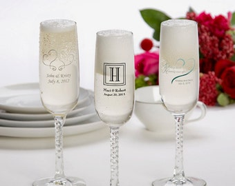 24 Printed Champagne Flutes, Wedding Favors, Set of 24 Personalized Champagne Flutes