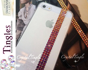 Iceland Volcano Rainbow Effect Rose Gold White Diamond Crystal Simple Transparent Case Made w/ Swarovski Elements For iPhone or Samsung