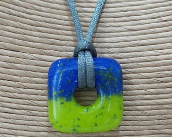 Lime Green and Royal Blue Pendant, Fused Glass Jewelry, Blue and Green Square Donut Pendant, One of a Kind Gifts Under 20 - Splendor -7