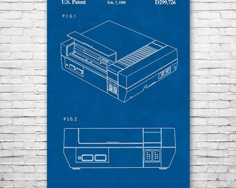 Nintendo NES Video Game System Poster Art Print, Patent Art, Gift, Patent Print, Patent Poster, Wall Art, Home Decor, Vintage Art