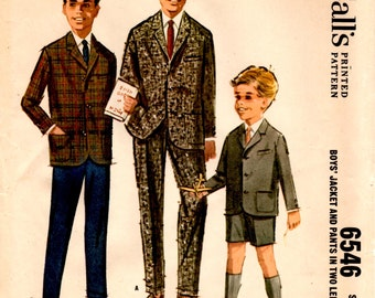 1962 McCalls 6546 Size 4 Boys Jacket Pattern Boys Pants Pattern Boys Shorts Pattern Boys Suit Pattern Sewing Pattern Supply Mod 60s ff ME