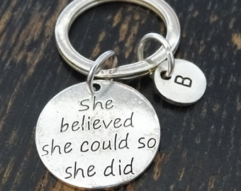 She believed she could so she did Keychain, Custom Keychain, Custom Key Ring, Graduation Keychain, Graduation Gift, Graduation Jewelry