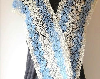 White and Blue Alpaca Scarf, handspun, hand-dyed and handknitted