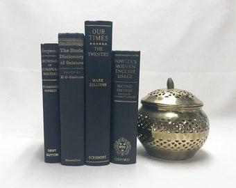 Navy Blue Decorative Books for Shelf Decor
