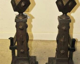 Antique Set of Mission Andirons, Arts & Crafts 1920s, Fireplace Log Holder #2056