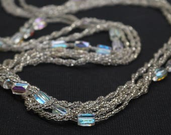 AURORA BOREALIS AB and Clear Glass Beads Multi strand 34inch Long Necklace Vintage Jewelry 1960s