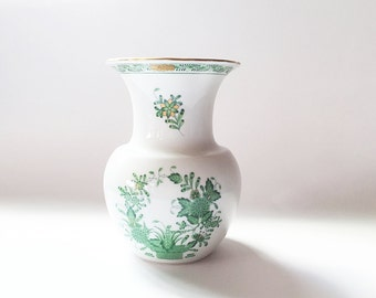 """6"""" Herend Porcelain Vase Hand Painted Hungarian China Indian Basket Green"""