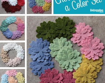Wool Blend Felt Flowers   12 Verbena   Pick a Color Set   DIY   36 Unassembled Flowers