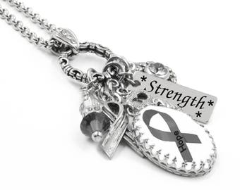 Juvenile Diabetes Necklace, Juvenile Diabetes Jewelry, Personalized Diabetes Necklace, Gray Awareness Ribbon