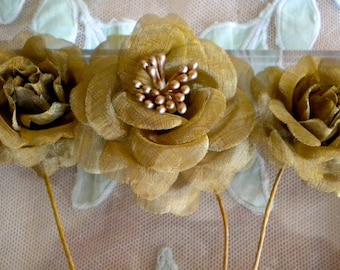 Gold Metallic Mesh Flowers and Bows