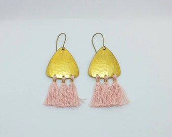 Tassel earrings. Gold tassel earrings. Gold and pink earrings. Chandelier earrings. Boho earrings.