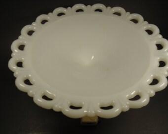 milk glass pedestal lace bowl