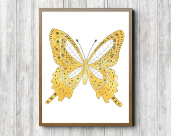 Watercolor Butterfly Printable Nursery / Girls Room / Office Wall Art - Yellow & Gray Decor - Gift For Girl / Her - Nature Poster - Digital