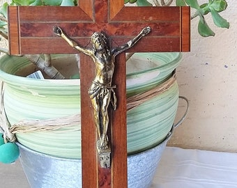 Crucifix - Christ in cross wooden hanging Vintage French Christian Catholic Jesus