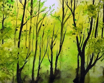 Forest painting - A3 - 16x12in  - boreal nordic forest landscape 3