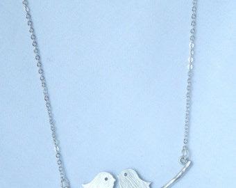 Silver Love Birds on a Branch Necklace - Layering