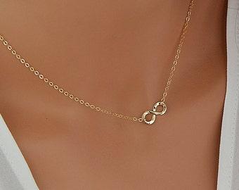 Gold Infinity Necklace, Tiny Infinity, Dainty Gold Necklace, Infinity Jewelry, Delicate Gold Necklace, 14k Gold Filled