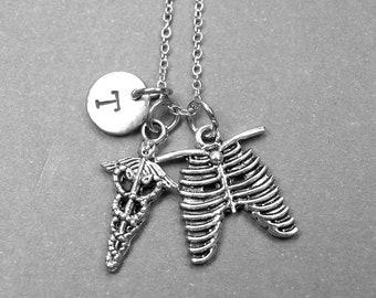 Caduceus necklace, Caduceus charm, rib cage necklace, ribs necklace, nursing charm, medical necklace, personalized necklace, initial charm