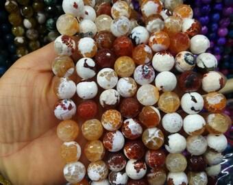 White Brownish Red Agate 14mm Round ball beads -28pcs/strand