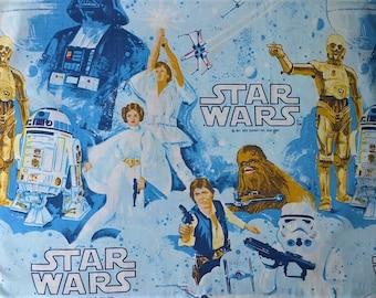 Esmond 1977 Star Wars Print Blue & White Twin Single Size Flat Bed Sheet - Hans Solo Luke Skywalker Princess Leia C3PO